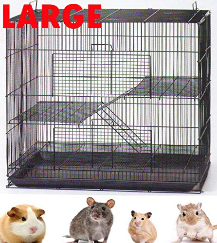 New 3 Levels Ferret Chinchilla Sugar Glider Rats Animal Cage with 1/2' Wire Cross Shelves and Ladders (30' L x 18' W x 24' H Black)