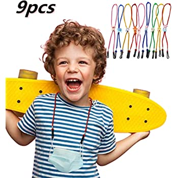 Adjustable Length Lanyard for Face Covering, 4/5/9 pcs Kids Cartoon Lanyard Convenient Glasses Holder Rope, Neck Strap for Earloop Safety Oral Covering (Multicolor 3, 9pcs)