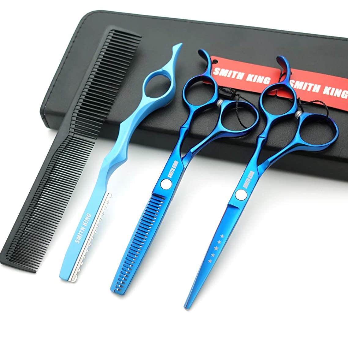 6.0 Inches Professional hair cutting thinning scissors set with razor (Blue)