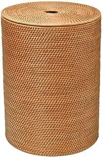 """KOUBOO 1030001 Rattan Hamper with Cotton Liner, 18"""" x 18"""" x 22"""", Honey Brown"""
