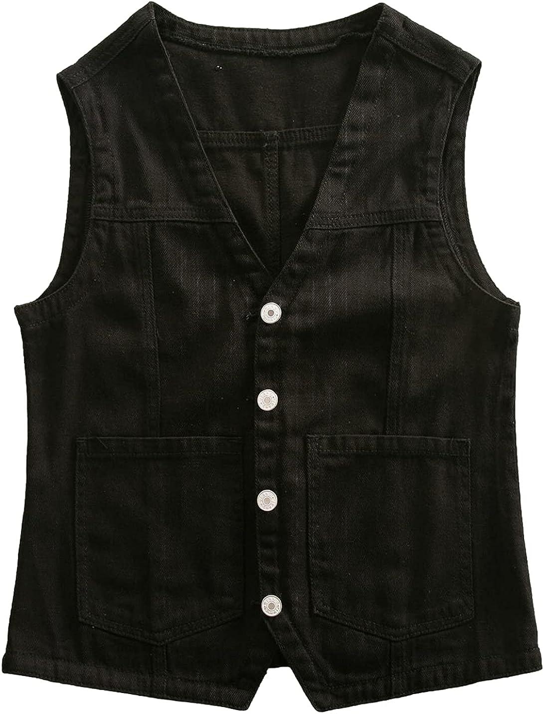 Bnigung Women's Casual Sleeveless Denim Vest V Neck Button Down Loose Jean Waistcoat Jacket