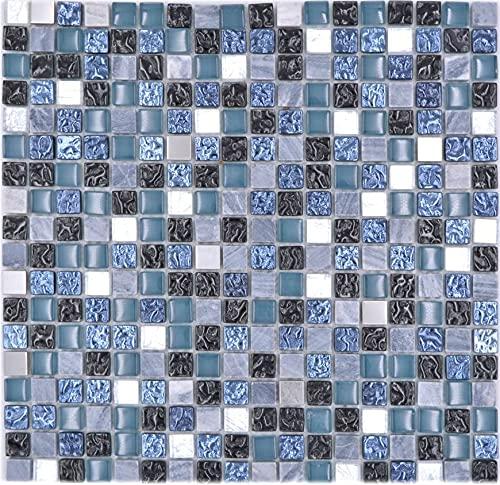 Azulejos de mosaico de cristal, piedra natural, piedra de mosaico, piedra y acero, mezcla de azul y gris