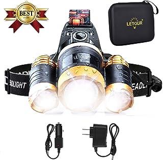 LETOUR LED ヘッドライト ヘッドランプ 8000ルーメン 【実用点灯4.5-8時間】4種の点灯モード ズーム・角度調節可能 超高輝度 登山 釣り アウトドア 防水 LEDヘッドランプ 充電用USBケーブル・ACアダプタ・18650電池付属