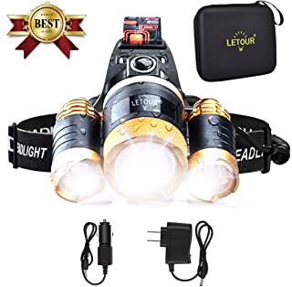 Headlamp, LETOUR Brightest 6000 Lumen Rechargeable headlamp Cree T6 LED Headlamp, Waterproof Flashlight with Zoomable Headlight, Adjustable Work Head Lamp for Camping, Running, Hiking