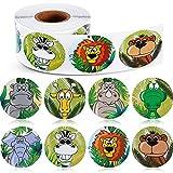 BETOY Etiquetas engomadas de Animales, 500 Piezas Pegatinas con Rollos de Animales de zoológico Pegatinas autoadhesiva de Forma Animal Adhesivos de Pared para niños, 8 Estilos