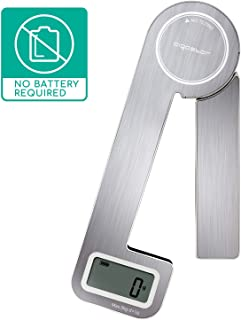Aigostar Nano - Báscula de cocina plegable, ahorra espacio. Báscula de cocina digital multifunción, control táctil, pantalla LCD, hasta 5 kg, acero inoxidable, función tara. Sin pilas, ni enchufes.