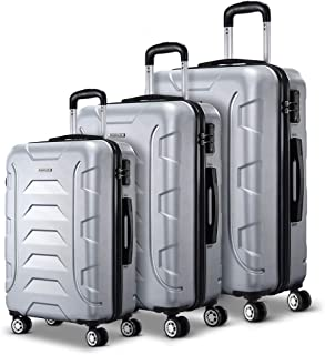 Wanderlite 3 Pcs Lightweight Luggages Hard Suitcases and Scale, Silver