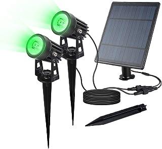 SULPOW LED Proyector solar Jardín Inducción impermeable al aire libre Luz para jardín, cerca, árbol, patio, césped, (paquete verde de 2)