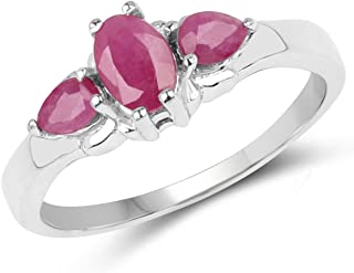 JOHAREEZ Ruby 3-Stone Ring, 1.10 cts Ruby .925 Sterling Silver Rhodium Plated Ring