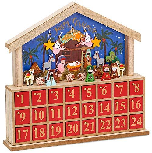 BRUBAKER Calendario de Adviento Pesebre de Madera Azul/Rojo - 34,5 x 32 x 6 cm