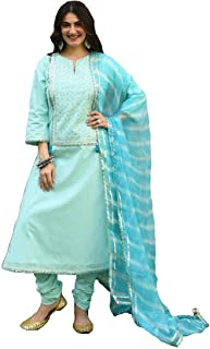 Monika Silk Mill Women's Skyblue Cotton Silk Embroidered Semi Sititched Salwar Suit with Dupatta