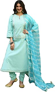 Style Amaze Women's Skyblue Cotton Silk Embroidered Semi Sititched Salwar Suit with Dupatta
