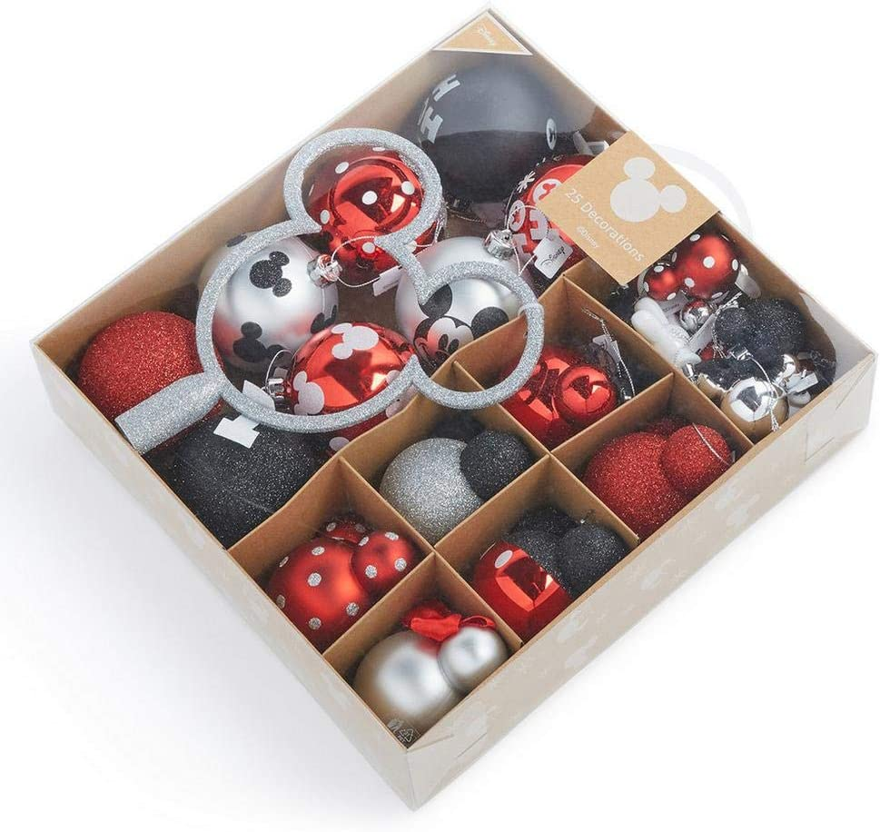 Licensed Disney Mickey Mouse Christmas Decoration Pack Of 20 Baubles  Red/Multicolored Hanging Decorations Primark Red Pack Of 20