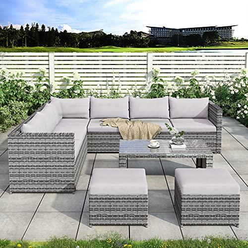 wangmengzi Rattan Garden Furniture Rattan Set 8 Corner Sofa Seater, Outdoor Furniture With Coffee Table 2 Stools (Grey)