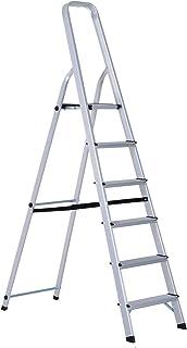 HOMCOM Escalera de Aluminio Tijera Plegable 4/5/6 Peldaños 150kg Plegable Plateado NUE (6 Peldaños)