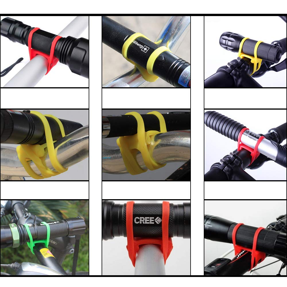 Details about  /2 Pieces Bike Silicone Band Bicycle Flashlight Strap Tie Holder Black