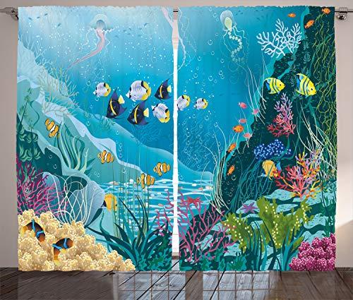 ABAKUHAUS Fisch Rustikaler Vorhang, Unterwasserlandschaft, Wohnzimmer Universalband Gardinen mit Schlaufen und Haken, 280 x 225 cm, Mehrfarbig