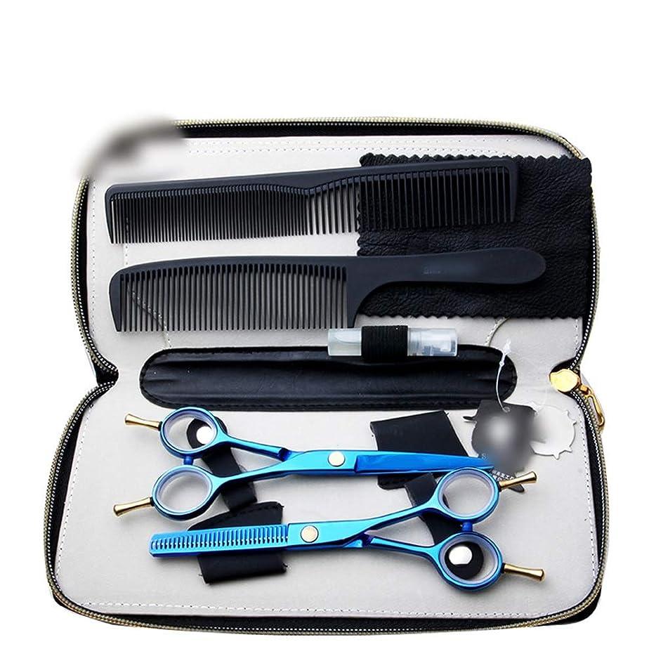 ペンス刈る進化Hairdressing 6インチの青色のダブルチップはさみ、細い歯はさみ+フラットストレートはさみセットヘアカットはさみステンレス理髪はさみ (色 : 青)