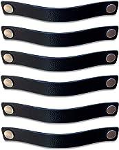 Brute Strength - Leren Handgrepen - Zwart - 6 stuks - 25 x 3 cm - incl. 3 kleuren schroeven per leren handvat voor keukenk...