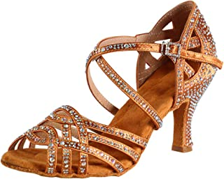 15478233b900 HIPPOSEUS Mujeres Salón de Baile Latino Zapatos Rhinestones Suela de Ante,  Modelo ESAFCT459