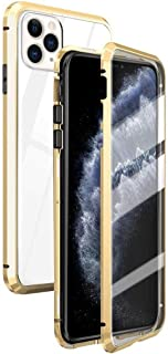 Privacy Magnetic Case for iPhone 11/Pro/Pro Max, Clear Double Sided Tempered Glass [Magnet Absorption Metal Bumper Frame] Thin Anti-Spy 360 Full Protective Case for Apple iPhone