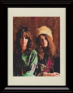 Framed Grace Slick and Janis Joplin Autograph Replica Print