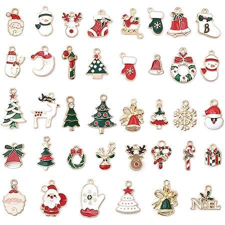 Jahemu Weihnachtsanhänger Charms Anhänger Diy Ornamente Weihnachten Deko Für Halskette Armbänder Schmuckherstellung 38 Stück Küche Haushalt
