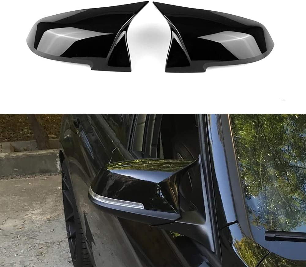 SNA Side Mirror Caps for BMW 3 Series F30 F31 F34 4 Series F32 F33 F36 2 Series F22 F23 1 Series F20 X1 E84 M2 F87 Gloss Black ABS Mirror Covers, 2-pc Set