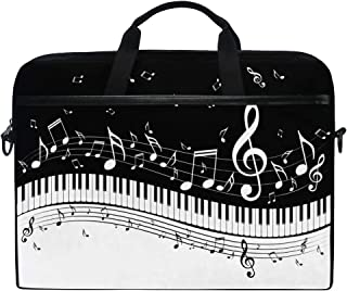 JOYPRINT Laptop Sleeve Case, Abstract Piano Music Note 14-14.5 inch Briefcase Messenger Notebook Computer Bag with Shoulder Strap Handle for Men Women Boy Girls