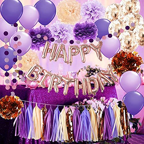 Purple Birthday Decorations for Women Purple Champagne Rose Gold Happy Birthday Balloons Rose Gold Confetti Balloons Girl Purple Birthday Party Decorations/ Women's 39th/40th/50th/60th Birthday