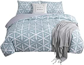 AYHome Duvet Cover Set Twin,Geometric Soft Breathable and Stylish Comforter Cover Bedding Set(Twin,Triangle-Green)