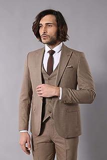 ae7ba0daa55af Kare Desenli Bej Takım Elbise | Wessi Taba 50
