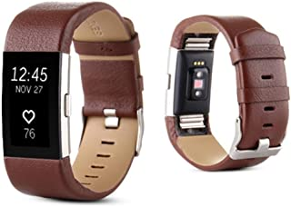 OVERMAL Sports Genuine Leather Watch Band Strap For Fitbit Charge 2 Wrist Band Bracelet (for Fitbit Charge 2, Brown)