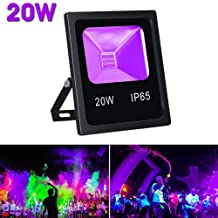 Byshun Outdoor UV Black Light,20W LED Flood Light Waterproof,Glow in The Dark Party Supplies for UV Blacklights Dance Party,Body Paint,Stage Disco Lighting