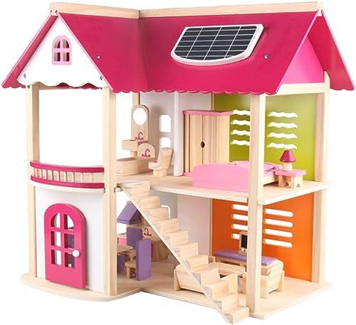 LWKBE Dollhouse en Bois avec Ensemble de Cadeau de Meubles, DIY DreamHouse Miniature Jouer des Jouets pour des Enfants, Cadeau créateur Anniversaire de Noel pour des Garçons et des Filles