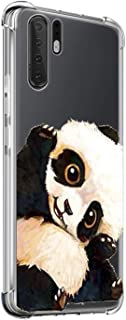 Oihxse Shockproof Case Compatible for Huawei Honor 9X Clear Back with Design, Soft Silicone TPU Ultra Thin Slim Fit Chic [Air Cushion] Corners Protection Crystal Transparent Cover(Panda)