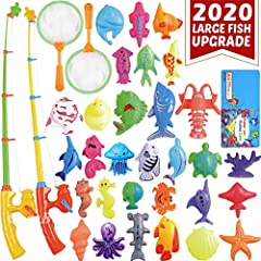 🐟【PERFECT LEARNING COMBO】Contain various sizes, more than 10 colors and 30 kinds of toy fishes animals 🐟【ALL- ROUND EDUCATION】Good for hand-eye coordination, color recognition, interpersonal skills and also math for 3 4 5 6 year old boys and girls gi...