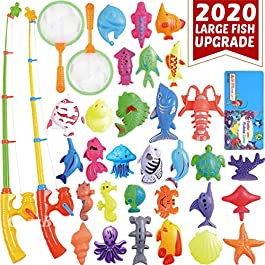 CozyBomB Magnetic Fishing Toys Game Set for Kids Water Table Bathtub Kiddie Pool Party with Pole Rod Net, Plastic Floating Fish-Toddler Color Ocean Sea Animals Age 3 4 5 6 Year