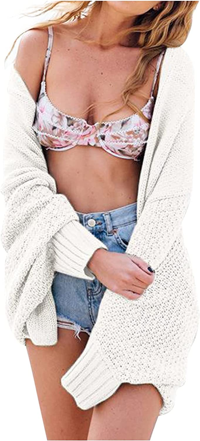 Misaky Ladies Casual Oversized Daily Knit Batwing Long Sleeve Cardigan Loose Open Front Sweater Coat