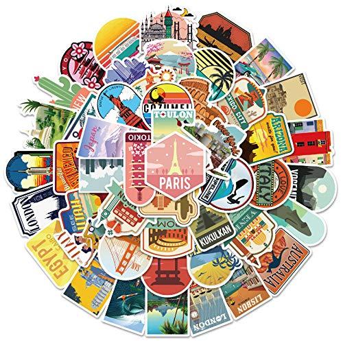 JZLMF 50 monumentos de viaje, ordenador, teléfono móvil, agua, taza, casco, personalidad, grafiti, pegatinas impermeables