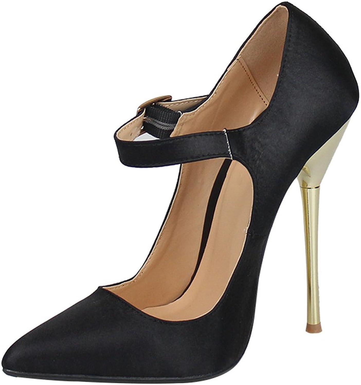 MAIERNISI JESSI Unisex Men's Women's Pointed Toe Stiletto High Heel Buckle up Pumps
