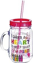 Big Heart Double Wall 20 oz. Mason Jar with Straw