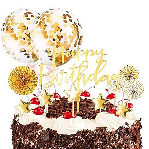 Tuofang Oro Decoración para Tartas Torta Toppers de Cumpleaños con Abanicos de Papel Globos Confeti Cupcake Topper, Cupcake Toppers Adecuado para Niños Adulto Fiestas Familiares de Cumpleaños