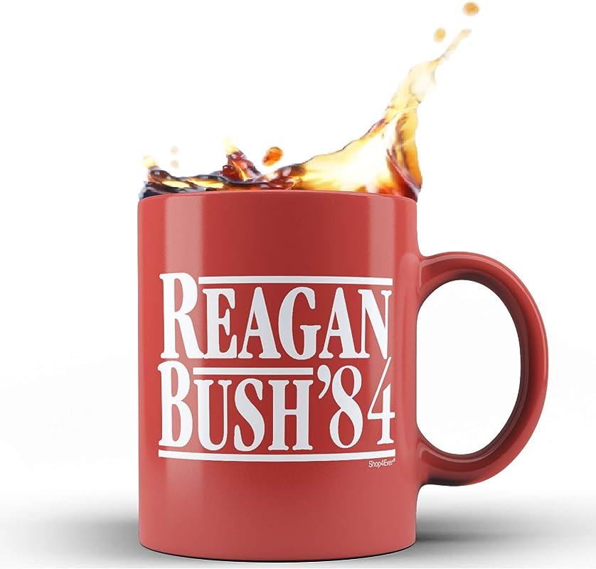 Shop4Ever Reagan Bush 84 Novelty Ceramic Coffee Mug Tea Cup Gift Presidential Red 11 Oz