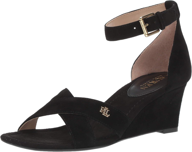 Lauren Ralph Lauren Women's Erinn Heeled Sandal, Black, 5 B US