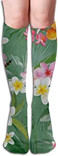 Stretch Stocking Tropical Floral Dragonfly Soccer Socks Over The Calf Special For Running,Athletic,Travel