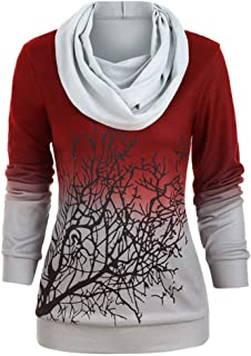 BrowING Ladies Plus Size Gradient Tree Branch Print Hooded Pullover Sweatshirt