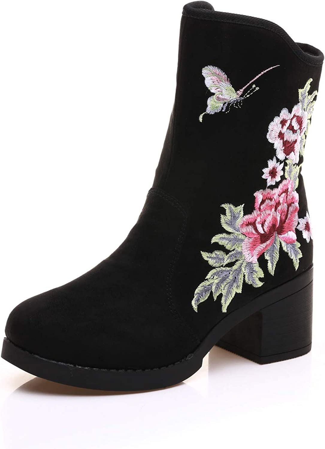 Welcometoo Korean Fashion Boots Women Embroider Floral Black Snow Boots Square Heels shoes Womens Winter Warm Booties