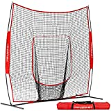 PowerNet 8x8 Practice Net | Huge Baseball Softball Hitting Pitching Net | Great for Teams | Hitting Pitching Batting Fielding Portable Backstop | Non-Tip Weighted Base (Red)