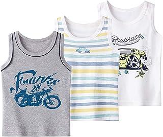 Coralup - Camiseta interior sin mangas para niños y niñas, 100% algodón, diseño de dinosaurio, 3 unidades, cómoda, transp...